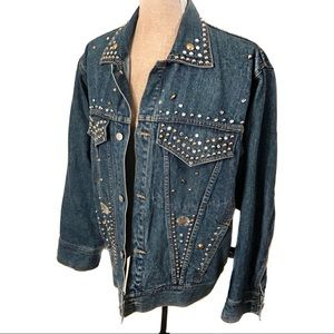 Vintage studded rhinestone jean denim jacket